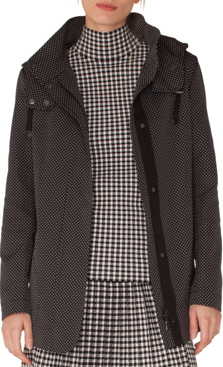 Akris Punto Pindot Jacquard Zip-Front Parka Jacket with Detachable Hood