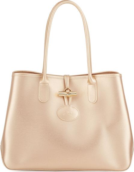 Longchamp Roseau Metallic Leather Shoulder Tote Bag