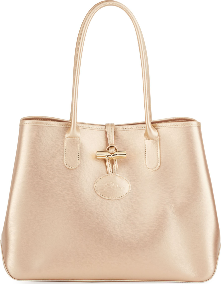Roseau Metallic Leather Shoulder Tote Bag