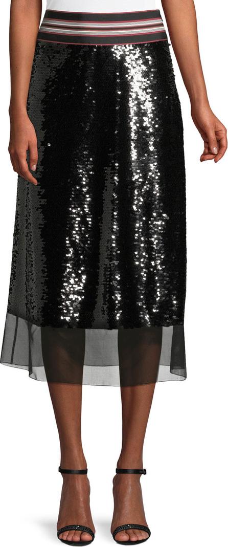 Sachin & Babi Labelle Stripe-Waist Sequin A-Line Skirt