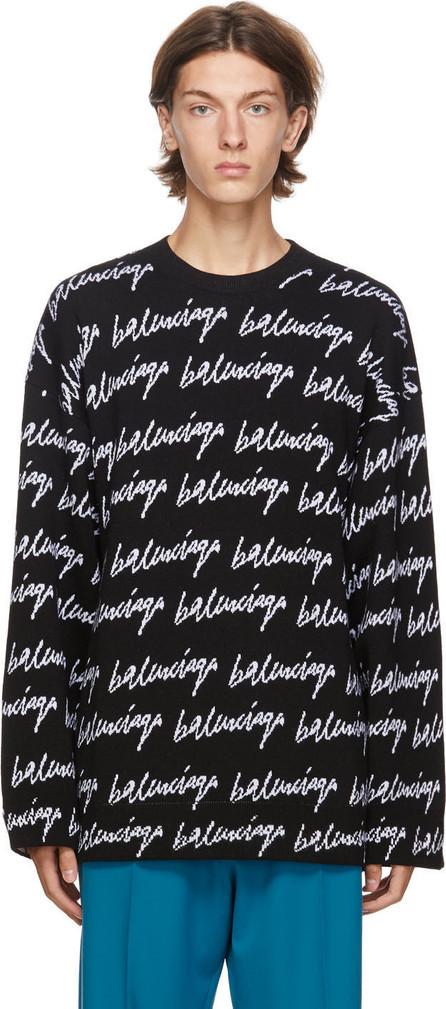 Balenciaga Black & White Knit Scribble Logo Sweater