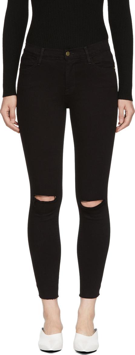 FRAME DENIM Black Le High Skinny Crop Rips Jeans