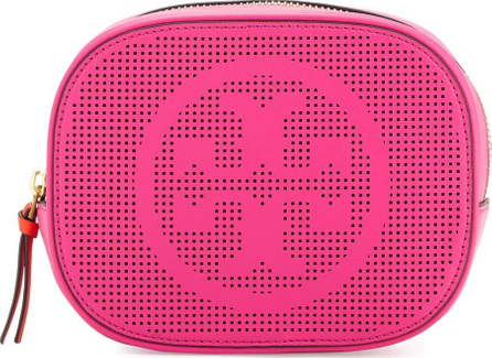 Tory Burch Logo-Perforated Round Cosmetic Bag