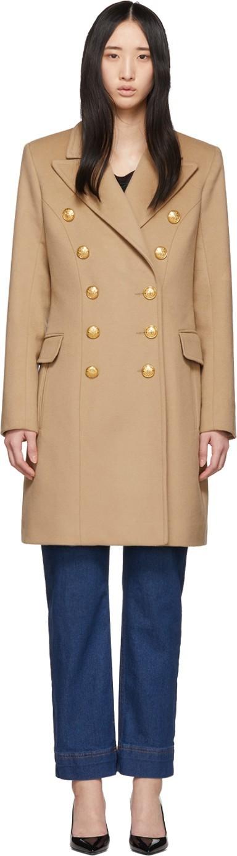 Balmain Beige Double-Breasted Button Coat