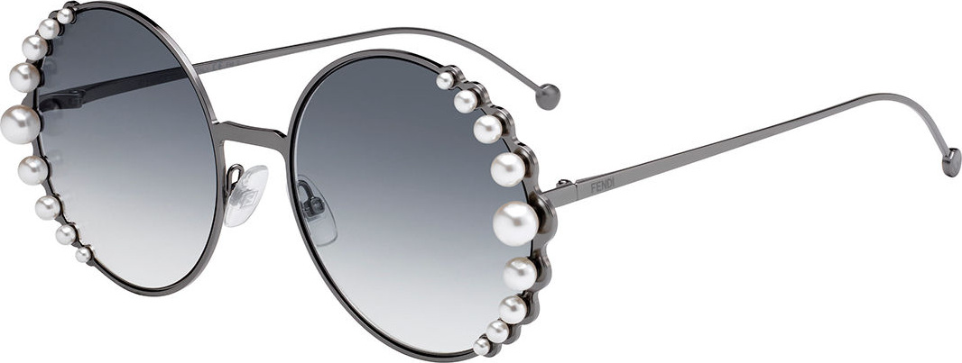 Fendi - Round Metal Sunglasses w/ Pearly Trim