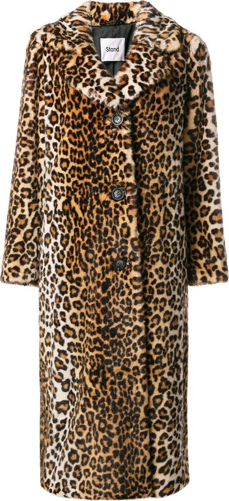 Stand Oversized leopard print coat