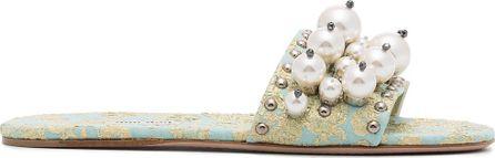 Miu Miu Cloquet slippers with pearl embellishment