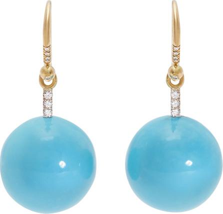 Irene Neuwirth Gold, diamond & Kingman turquoise earrings