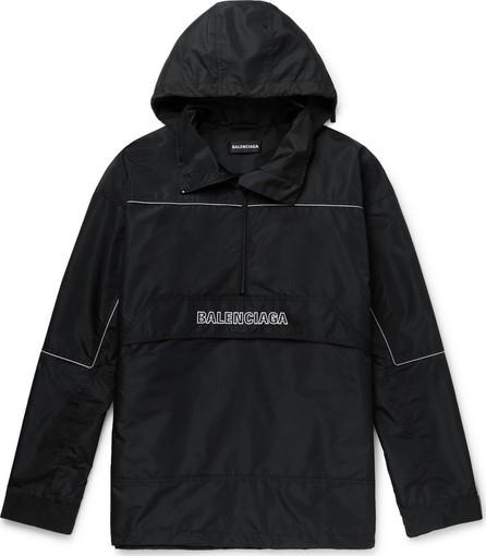 Balenciaga Oversized Logo-Embroidered Ripstop Half-Zip Hooded Jacket