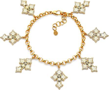 Buddha Mama 20k Diamond Cross & Enamel Charm Bracelet