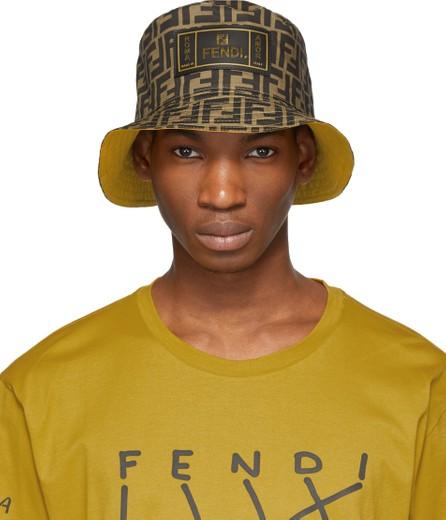 Fendi Reversible Brown & Yellow 'Forever Fendi' Hat