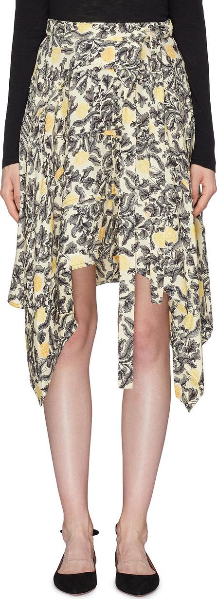 Proenza Schouler Asymmetric drape paisley floral print skirt