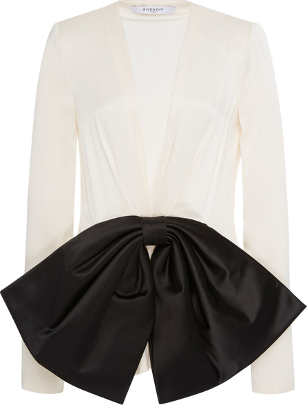 Givenchy Satin Bow-Embellished Crepe De Chine Blouse