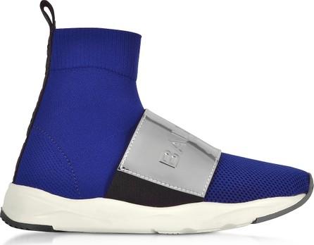 Balmain Cobalt Blue & Silver Cameron Knit Sock Sneakers