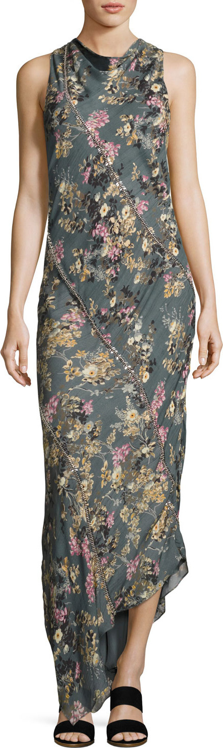 Haute Hippie Cecilia Floral Print Silk Maxi Dress, Gray-Multi