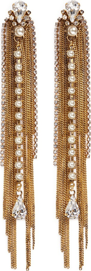 Erickson Beamon 'Born Again' crystal mixed chain drop earrings