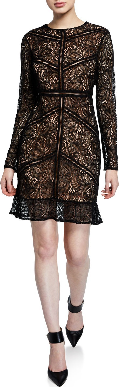 Bardot Sasha Long-Sleeve Lace Dress