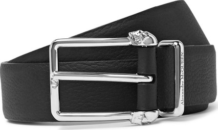 Alexander McQueen 3cm Black Full-Grain Leather Belt