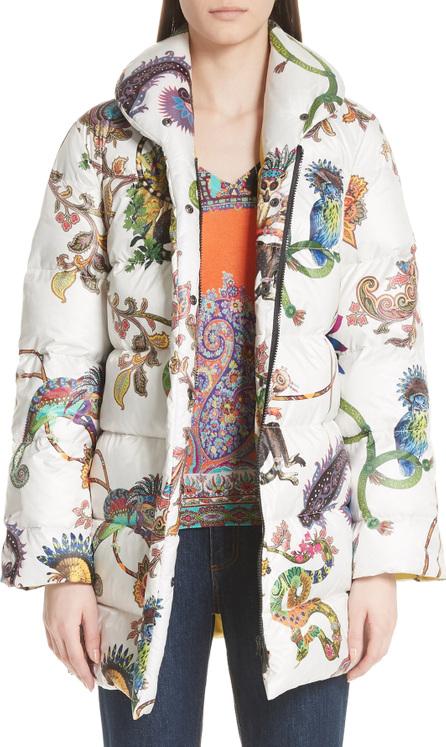 Etro Lemur Print Down Puffer Coat