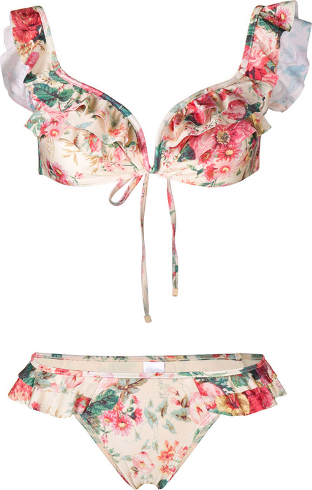 Zimmermann Ruffled floral bikini