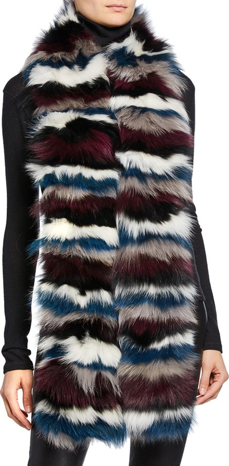 Jocelyn Striped Fox Fur Scarf