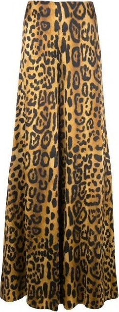Adam Lippes High Wasted Satin Wide Leg Leopard Print Pants