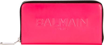 Balmain Shiny Continental Zip Wallet, Pink