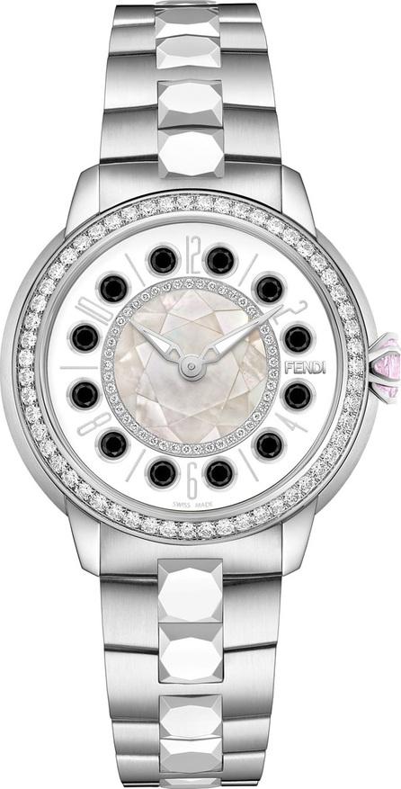 Fendi 38mm IShine Stainless Steel Bracelet Watch w/Pink Topaz, Black Spinel & Diamonds