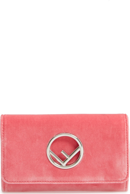 Fendi Logo Small Velvet Wallet on a Chain