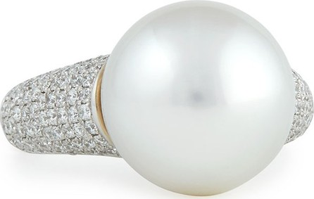 Belpearl Avenue Ring with White Pearl & Pave Diamonds