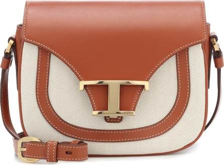 Tod's Leather-trimmed canvas crossbody bag