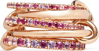 Spinelli Kilcollin 'Atlas Pink' diamond 18k rose gold five link ring