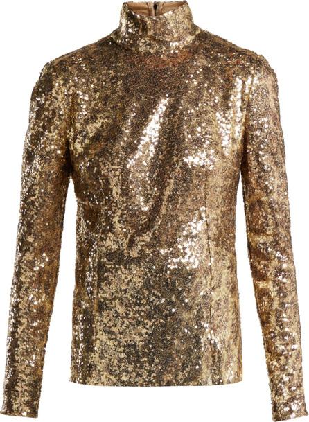Dolce & Gabbana Leopard-sequinned high-neck top