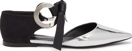 Proenza Schouler Metal ring tie leather and suede d'Orsay flats