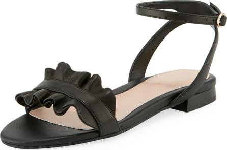 Taryn Rose Vesta Ruffle Leather Flat Sandal