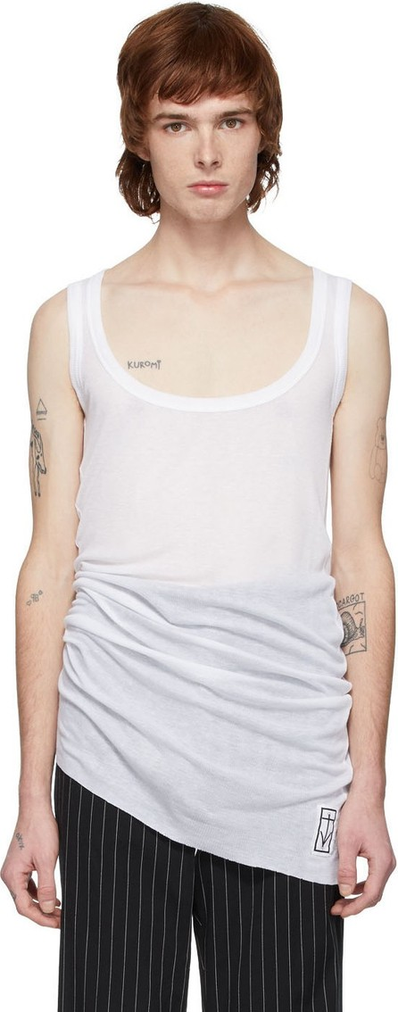 Ann Demeulemeester White Aura Rigatino Tank Top