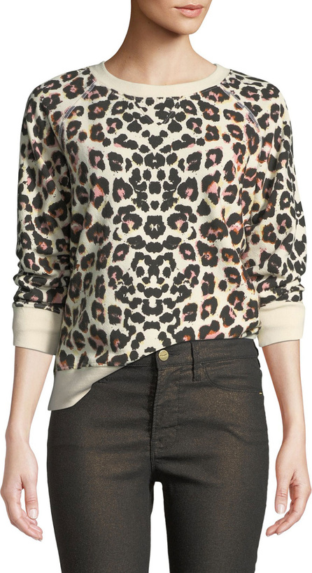 MOTHER The Square Leopard-Print Crewneck Pullover Top