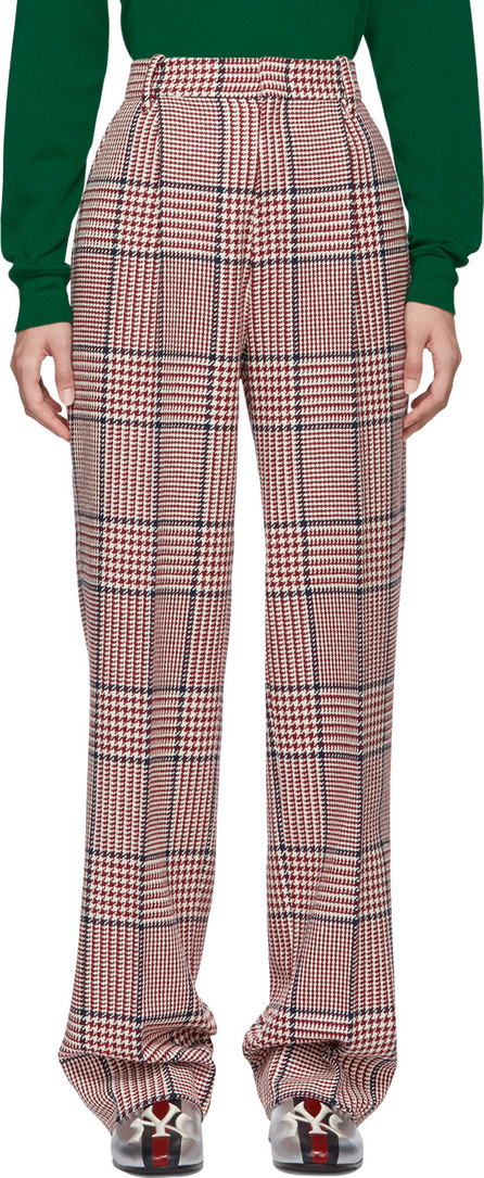 Gucci White & Red Straight Plaid Trousers