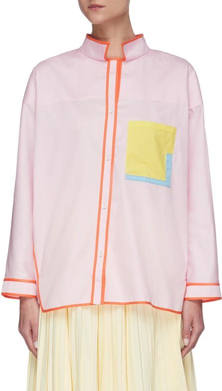 i-am-chen Oversize asymmetric contrast pocket stitching shirt