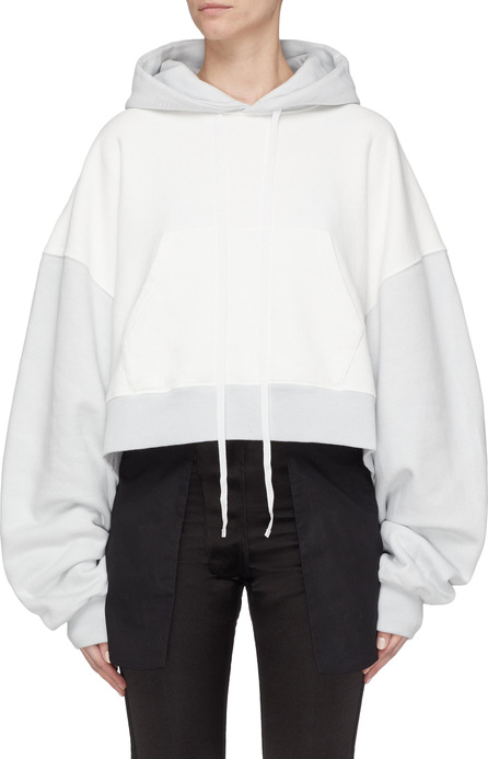 Ben Taverniti Unravel Project Colourblock extra long sleeve cropped hoodie