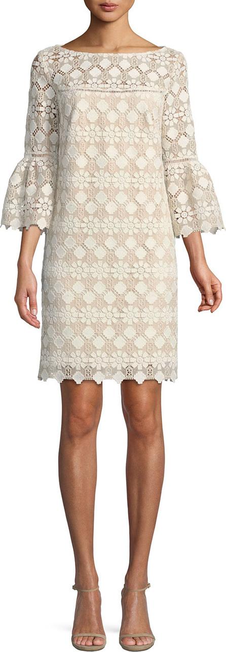 Trina Turk Quinn Bell-Sleeve Dress in Valencia Lace