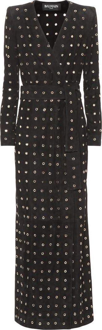 Balmain Embellished suede coat