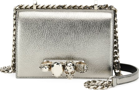 Alexander McQueen Small Metallic Jeweled Knuckle Flap Shoulder Bag