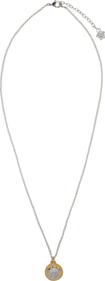 Versace Silver & Gold Small Medusa Coin Necklace