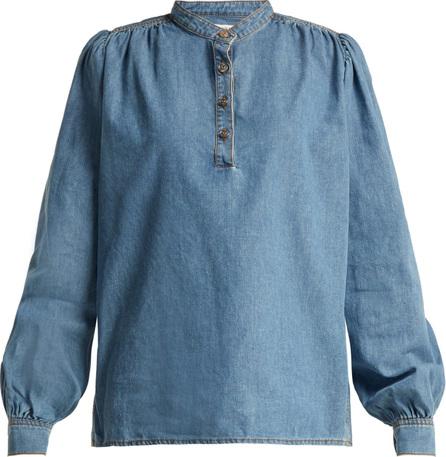 Ganni Half-button denim blouse