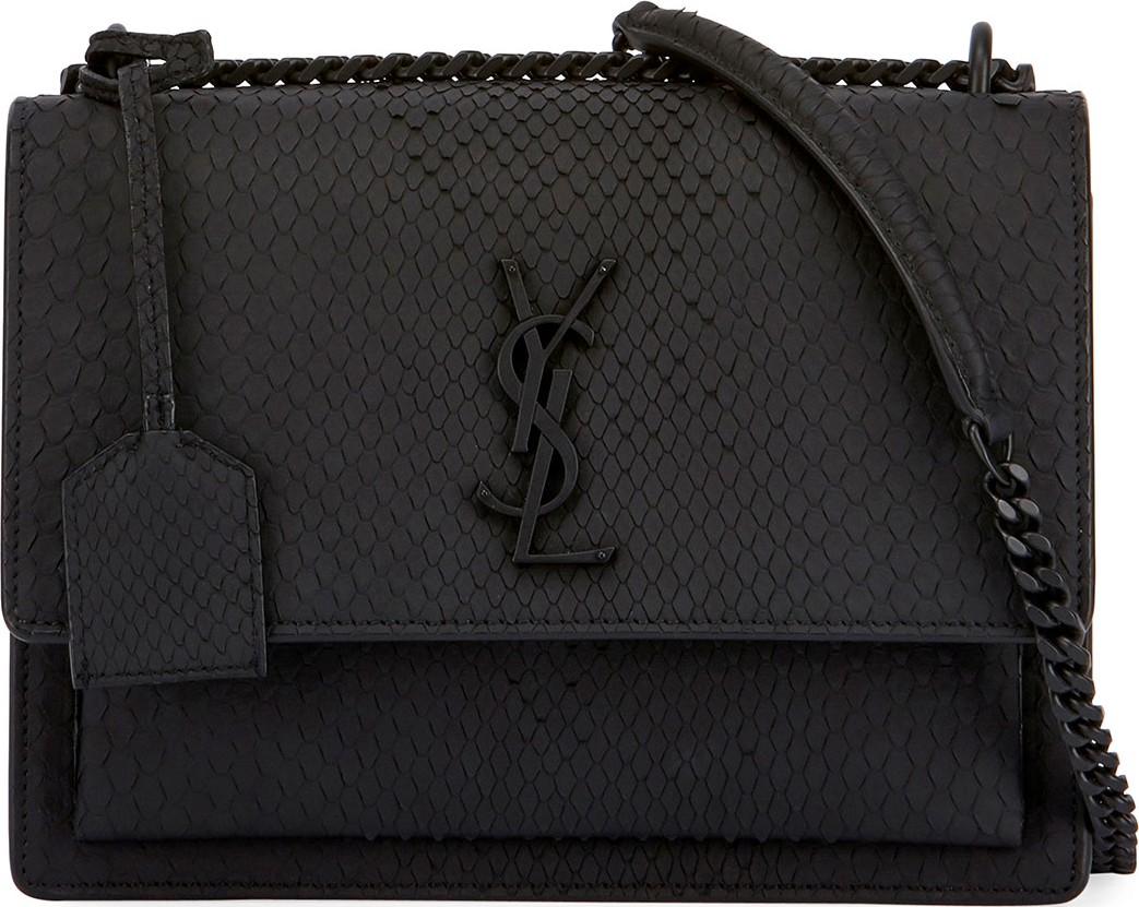 8ec7e3c1b8 Saint Laurent Kate Monogram Medium Matte Python Shoulder Bag - Mkt
