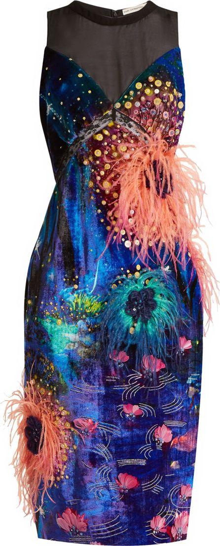 Mary Katrantzou Affair embellished dandelion-print velvet dress