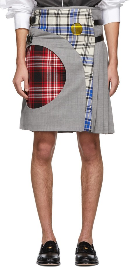 Charles Jeffrey Loverboy Grey Tartan Sculpture Kilt