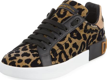 Dolce & Gabbana Metallic Leopard-Print Low-Top Sneakers