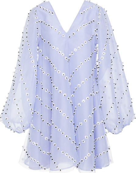 Ganni Rosenfeld Floral-Appliquéd Organza Mini Dress